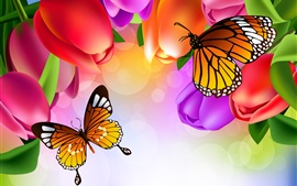 Colorful tulip flowers, butterfly, art picture