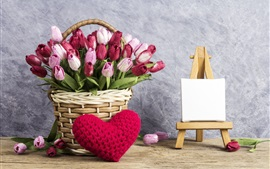 Preview wallpaper Colorful tulips, basket, love heart, romantic