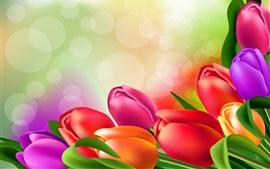 Tulipanes coloridos, resplandor, imagen de arte