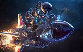 Vorschau des Hintergrundbilder Kreatives Design, Astronaut, Flamme, Raumschiff