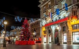 Хорватия, Риека, Новый год, огни, ночь, город