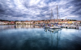Preview wallpaper Croatia, marina, bay, boats, clouds