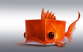 Preview wallpaper Cube fish, orange, creative design