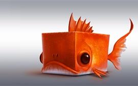 Кубическая рыба, апельсин, креативный дизайн