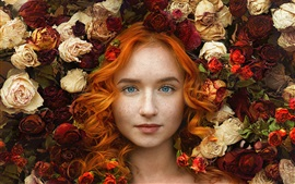 Preview wallpaper Curly hair girl, freckles, roses