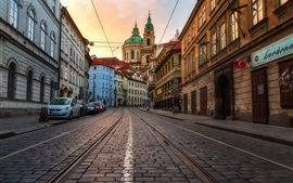 Czech Republic, Prague, city, street, cars, houses
