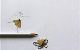 Танцующая девушка, карандаш, художественная фотография