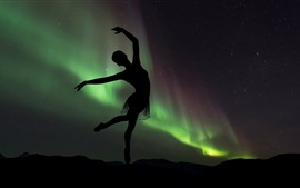Танцующая девушка, силуэт, балерина, Северное сияние