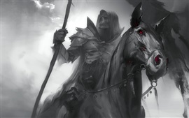 Preview wallpaper Dark Soul, black horse, knight, horror