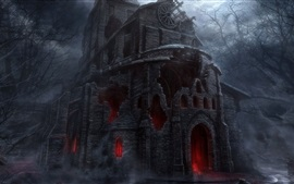 Preview wallpaper Darkness, castle, ruins, horror, art picture