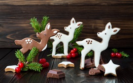 Preview wallpaper Deers, chocolate candy, Christmas