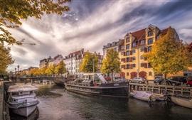 Dinamarca, Copenhague, río, ciudad, barcos, coches