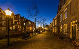 Dordrecht, Países Bajos, calle, tarde, luces