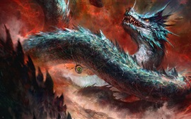 Dragão, olho, arte de fantasia