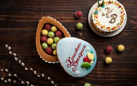 Easter, dessert, colorful cakes