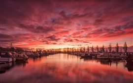 Preview wallpaper England, Derbyshire, harbour, river, boats, clouds, sunset