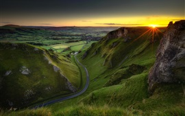 Preview wallpaper England, Peak District, green fields, road, sunrise, morning