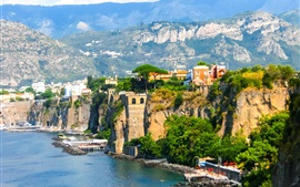 Europa, Italia, Sorrento, Nápoles, costa, mar, muelle