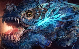 Preview wallpaper Fantasy art, colorful, texture, dragon