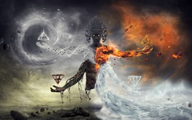 Fantasy art, monster, fire, burning, water