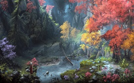 Fantasy art painting, mountains, trees, autumn