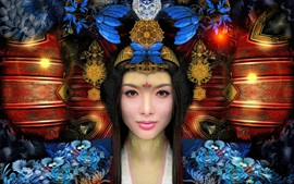 Fantasy girl, Chinese retro style, decoration