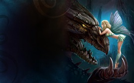 Preview wallpaper Fantasy girl and dragon, wings, art picture