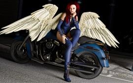 Fantasy girl, angel, red hair, wings, motorcycle