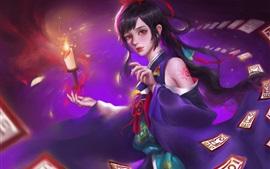 Fantasia menina, asiático, vela, magia, imagens de arte