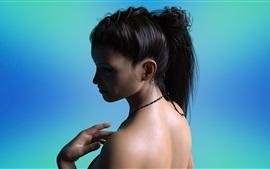 Preview wallpaper Fantasy girl, black hair, back view