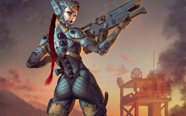 Preview wallpaper Fantasy girl, cyborg, look back, weapon, art picture