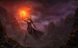 Chica de fantasía, fuego, espada, magia, imagen de arte