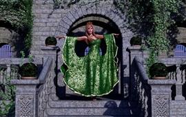Menina fantasia, saia verde