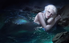 Preview wallpaper Fantasy girl, mermaid, tail, tear, water
