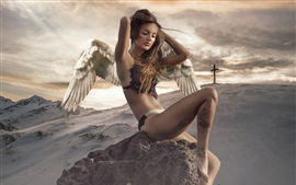 Preview wallpaper Fantasy girl, wings, snow, stone