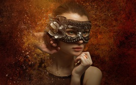 Preview wallpaper Fantasy young girl, green eyes, mask
