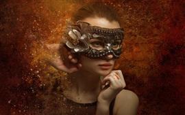 Aperçu fond d'écran Fantaisie jeune fille, yeux verts, masque