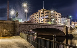 Finland, Tampere, night, bridge, river, city, lights