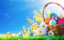 Flowers, colorful eggs, basket, grass, blue sky, Easter