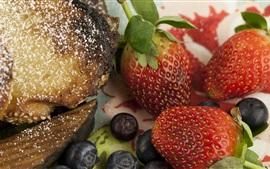 Comida, pan, manzana, fresa, arándano
