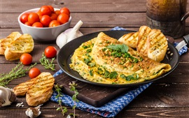 Preview wallpaper Food, tomatoes, croutons, omelette