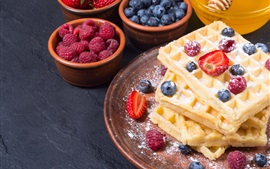 Preview wallpaper Food, waffles, powdered sugar, dessert