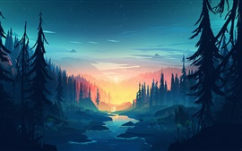 Forest, trees, river, nature landscape, art picture