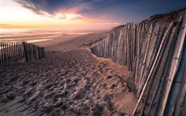 Франция, Аквитания, пляж, море, забор