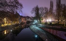 França, strasbourg, rio, noturna, luzes, cidade