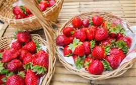 Morango fresco, frutas, cesta