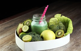 Preview wallpaper Fruit and vegetables juice, drinks, cucumber, broccoli, apple