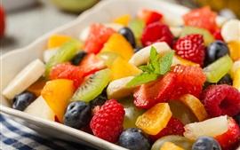 Fruit dessert, strawberry, orange, kiwi, blueberry