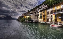 ガンドリア、ルガーノ湖、スイス、住宅、村