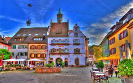 Preview wallpaper Germany, Baden-Wurttemberg, fountain, houses, cafe, street